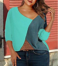 Plus Size Tops Color Block Long Sleeve Crew Neck Spring Summer White Blue Red Big Size XL XXL 3XL 4XL