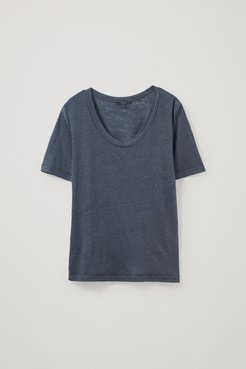 LINEN T-SHIRT WITH RAW EDGES