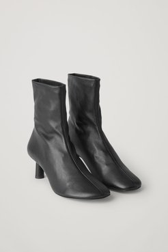 NAPPA LEATHER SOCK-STYLE ANKLE BOOTS