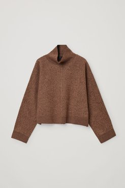 WOOL CROPPED ROLL-NECK SWEATER