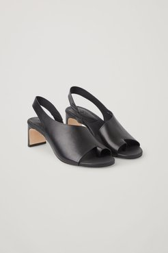 LEATHER STRAPPED THONG HEEL MULES