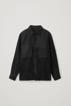 RELAXED SUEDE-COTTON OVERSHIRT