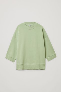 ORGANIC COTTON CROPPED SLEEVE SWEATSHIRT