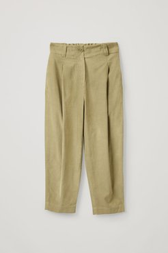 COTTON WIDE-LEG PLEATED CORD TROUSERS
