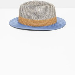 Straw Fedora Hat - Blue
