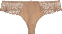 Delice embroidered thong