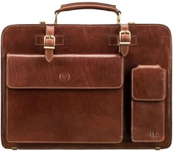Mens Fine Tan Brown Leather Large Zipped Briefcase
