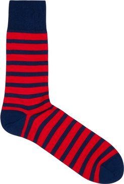 Navy and red striped cotton-blend socks
