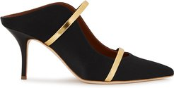 Maureen 70 black satin mules