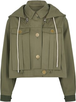 Army green hooded cotton jacket