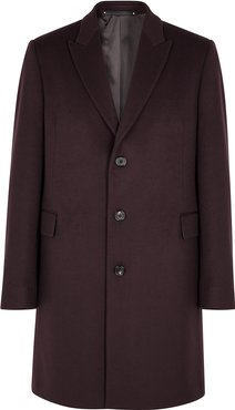 Burgundy wool and cashmere-blend coat
