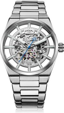 Rotary Mens Silver Greenwich Watch Silver Dial