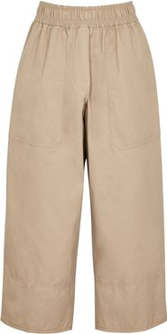 Workroom sand cropped twill trousers