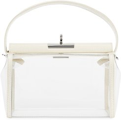 Water ivory leather and PVC top handle bag