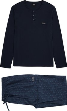 Henley navy cotton pyjama set