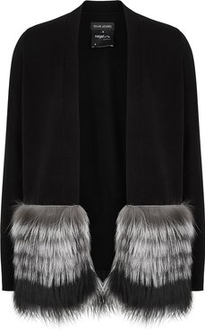 Black fur-trimmed wool and cashmere-blend cardigan