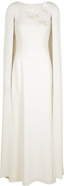 White embellished cape-effect gown
