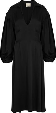 Farrely black satin midi dress