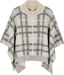 Checked roll-neck cashmere poncho