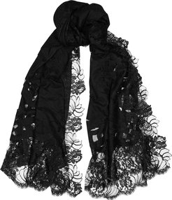 Black lace and cashmere scarf