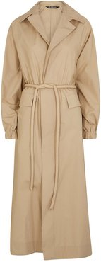 Sand belted cotton coat