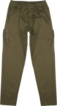 Ghost army green stretch-twill cargo trousers