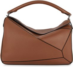 Puzzle large leather top handle bag