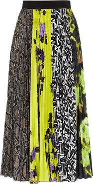 Contrast-print pleated midi skirt