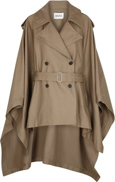Clarisse stone belted twill cape