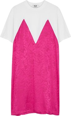Panelled cotton and satin T-shirt dress