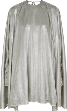 Silver cape-effect lamé mini dress