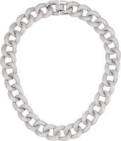 Armure pavé rhodium-plated chain necklace