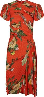 Meggy red floral-print midi dress