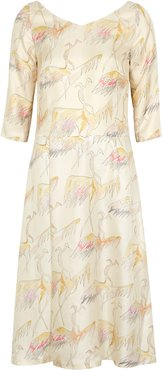 Dragon printed silk midi dress