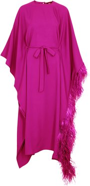 Fenice pink feather-trimmed cape dress