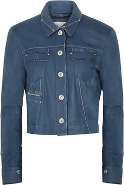 Covert blue leather and suede jacket