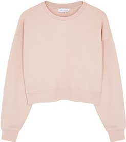 Pink cropped organic cotton sweatshirt