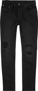 Chitch black distressed slim-leg jeans