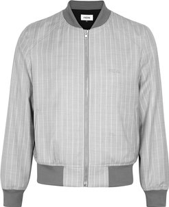 Grey striped wool and silk-blend bomber jacket