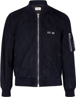 Navy embroidered suede bomber jacket