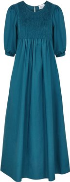 Willow teal cotton midi dress