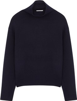 Navy high-neck wool-blend jumper