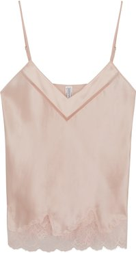 Nocturne pink lace-trimmed satin camisole