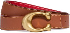 Brown and red reversible leather belt