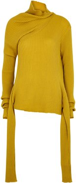 Mustard ribbed merino wool jumper