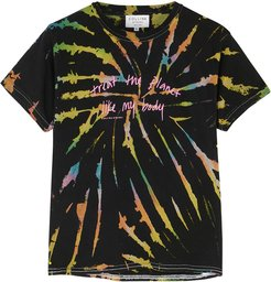 Tie-dyed printed cotton T-shirt