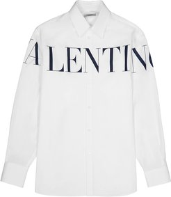 White logo-print cotton shirt
