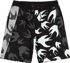 Swallow-print panelled cotton shorts