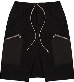 Black cotton and wool-blend shorts