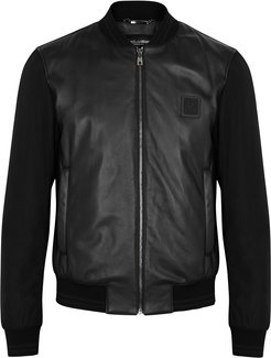 Black leather and shell bomber jacket